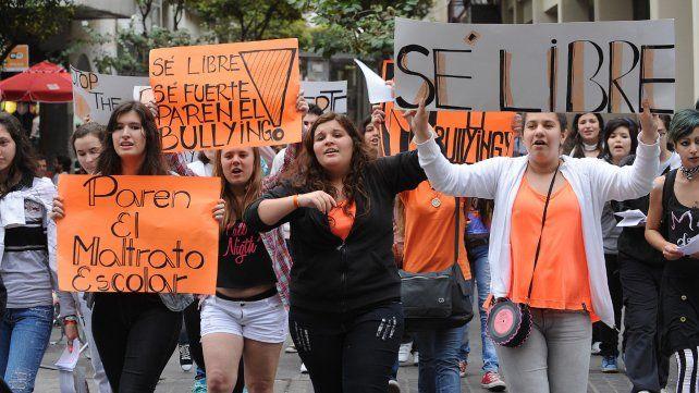 Reclamo. Una de las tantas marchas en contra del bullyng.