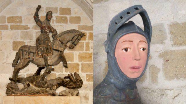 La escultura original (a la izquierda) y el resultado de la restauración.