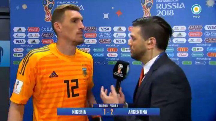 Franco Armani se adueño del arco de la selección argentina.
