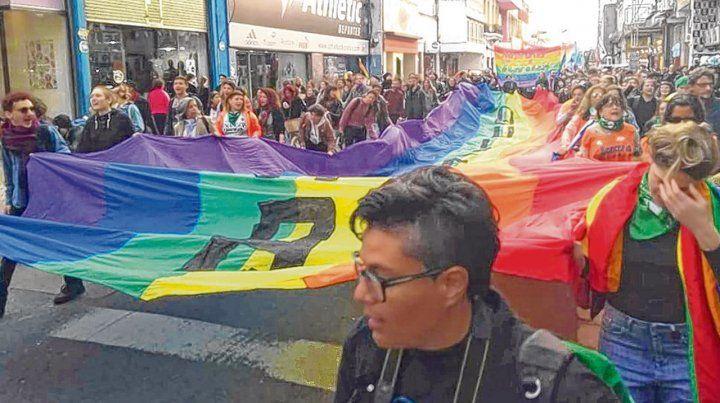 Diversidad. Una nutrida y colorida columna marchó ayer por el centro de Rosario.