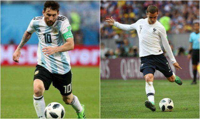 Albiceleste. Lionel Messi es el arma vital del ataque del equipo de Sampaoli.Les bleus. Antoine Griezmann es el desequilibrio en la delantera francesa.
