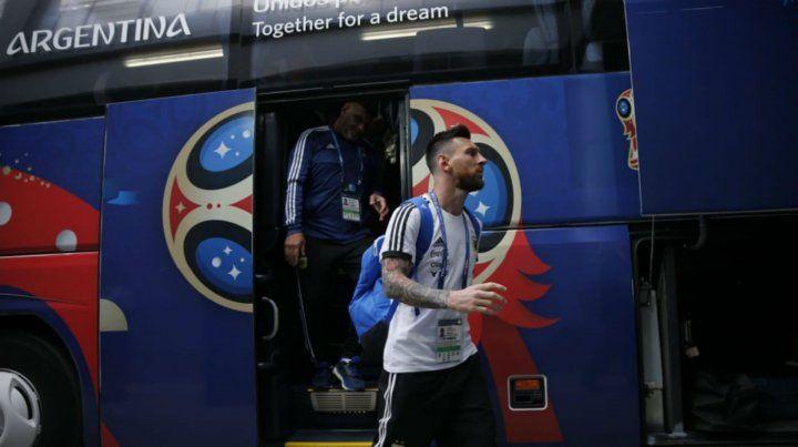 La selección argentina ya está en el estadio