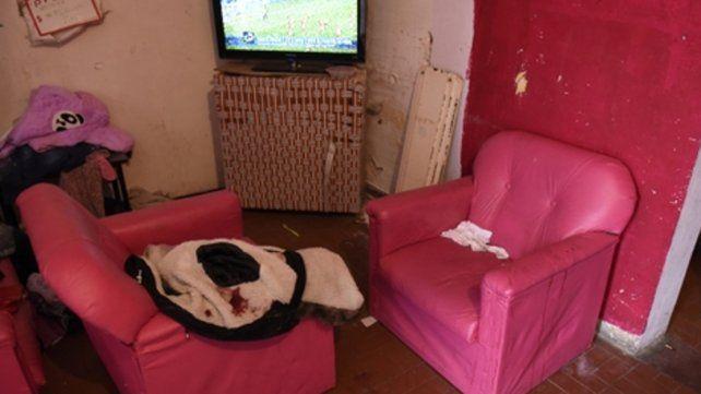 En los sillones. Maite dormía sobre los sillones rosas al ser baleada. Su campera quedó manchada de sangre.