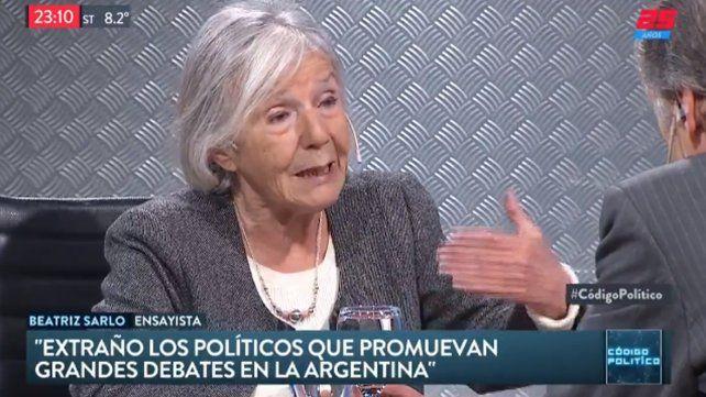 Beatriz Sarlo: La UCR es un hijo narcotizado de Cambiemos