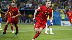 De Bruyne festeja su gol, el segundo de Bélgica.