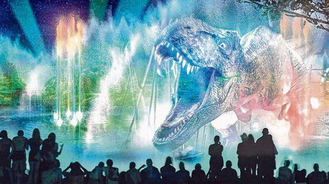 Para grandes y chicos. Entre las espectaculares proyecciones se destacan los impresionantes rugidos de los famosos dinosaurios de Jurassic World.