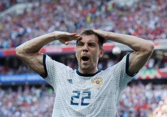 El delantero Artem Dzyuba patentó el particular saludo militar que toda la nación adoptó como propio.