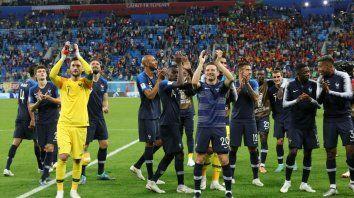 Los franceses. El equipo celebró el pasaje a la final tras vencer 1-0 a Bélgica en semis.
