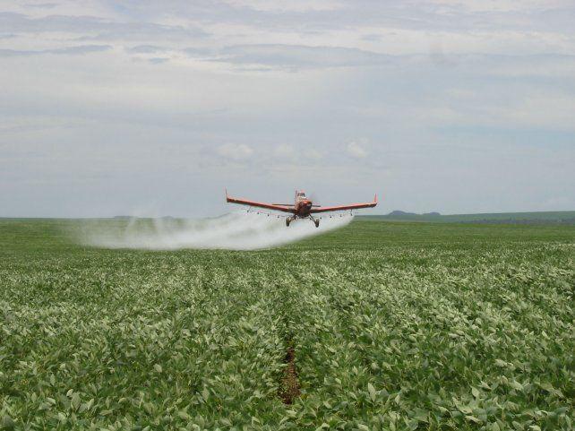 Fumigados. Aeroaplicación de herbicidas en un cultivo de soja en Brasil.