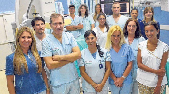 Los miembros del equipo de Hemodinamia del Hospital Centenario.