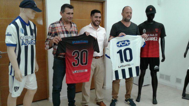 Norberto Bonomelli (presidente de Unión); Joel de Genaro (jefe comunal) y Fabio Volpi (titular de Sportivo).