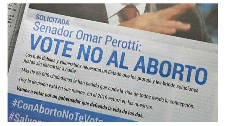 Una ONG antiaborto le exigió a Perotti votar en contra de la ley