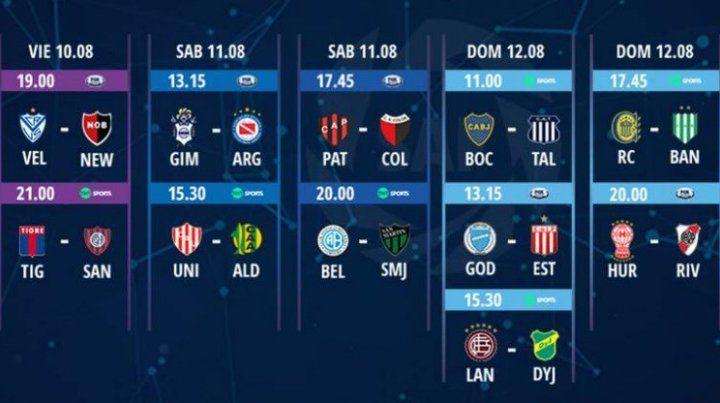 El cronograma de la 1ª fecha de la Superliga.