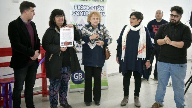 Luciano Maglia, Patricia Molina, Beatriz Regal, Mariana Rossi y Sebastián Kraus en la jornada de sensibilización.