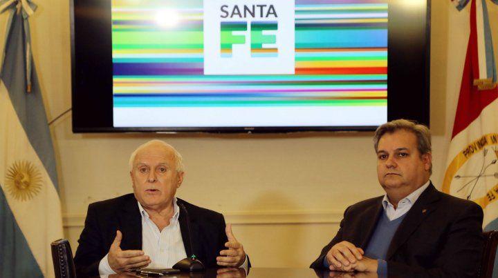 El gobernador Lifschitz junto al ministro Pablo Farías.