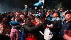 el festejo celeste fue un rugido de gol, gritos y fuegos artificiales