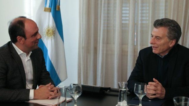 El intendente Corral durante un encuentro con el presidente Mauricio Macri.