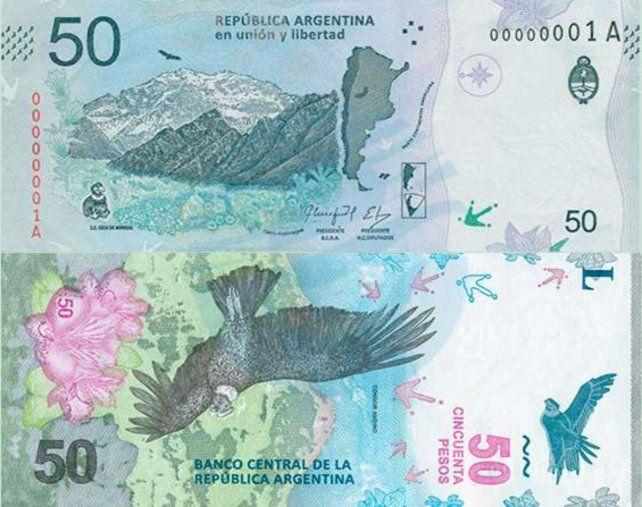 El nuevo billete de 50 pesos forma parte de la serie Animales Autóctonos de la Argentina.