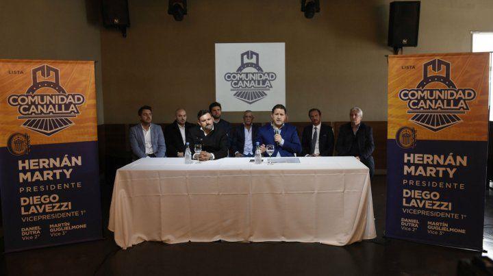 A pleno. La cúpula de Comunidad Canalla brindó una conferencia de prensa. Diego Lavezzi y Hernán Marty fueron los oradores de la agrupación opositora.