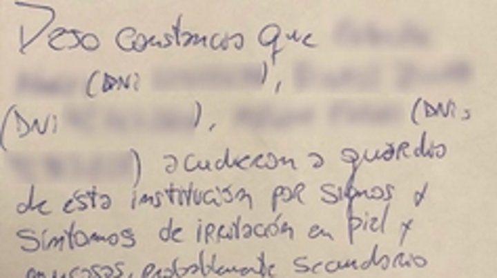 Acta. Un certificado médico acompañó la denuncia de Cristina Kirchner.