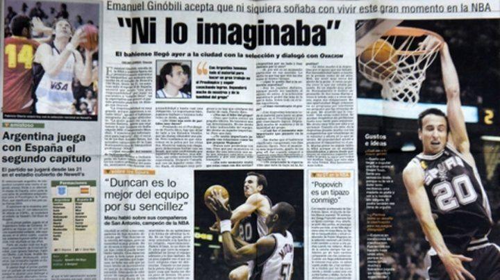 A doble página. La entrevista que le dio Ginóbili a Ovación en 2013.