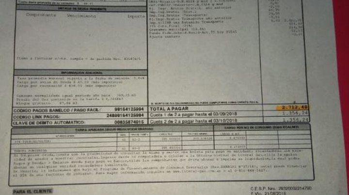 La factura. La boleta de gas que recibió la jubilada rosarina fue de $ 2.712