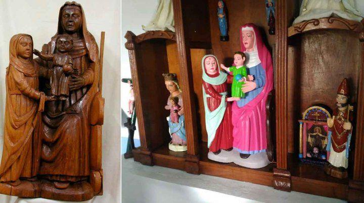 Arruinada. La talla antes y después de ser pintarrajeada por una vecina.