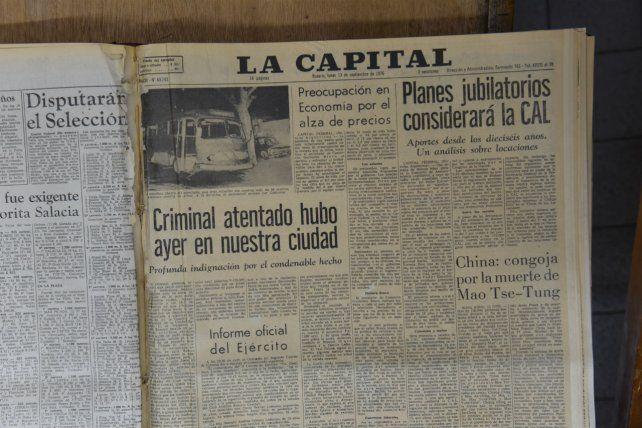 Las noticias. La edición de La Capital del 13 de septiembre de 1976 mostró los detalles del atentado.