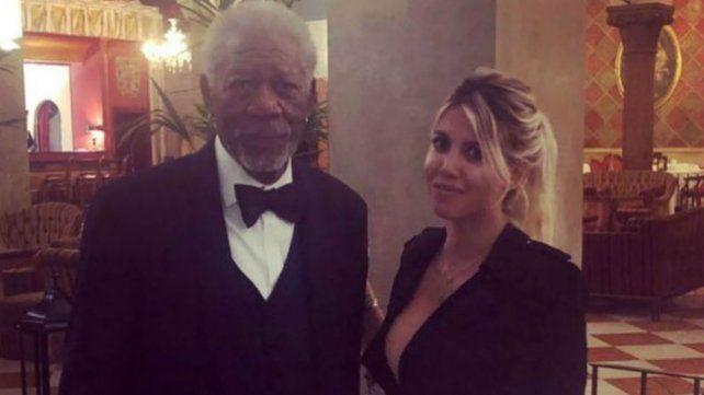 En encuentro menos pensado: Wanda Nara y Morgan Freeman