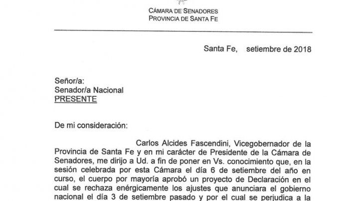 Fascendini les pide a los legisladores nacionales que defiendan a Santa Fe