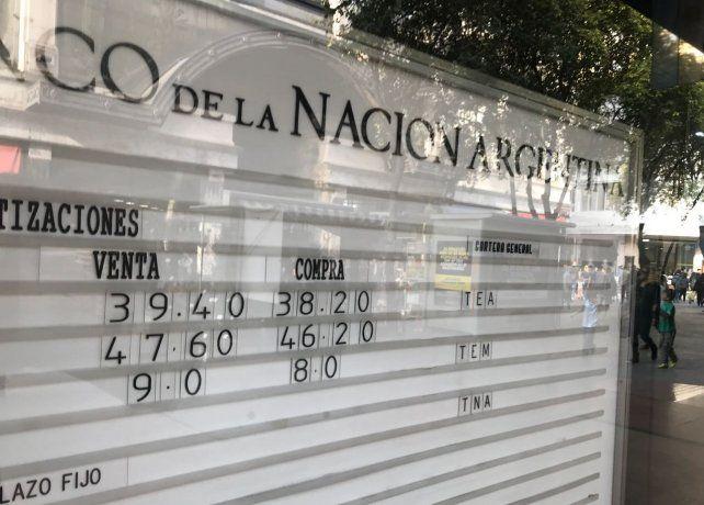 En el Banco Nación la moneda cotizó a 38,20 y 39,40 para ambas puntas.
