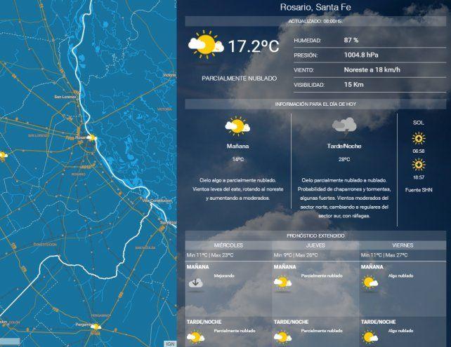 Se renovó el alerta meteorológico por vientos y tormentas fuertes para Rosario