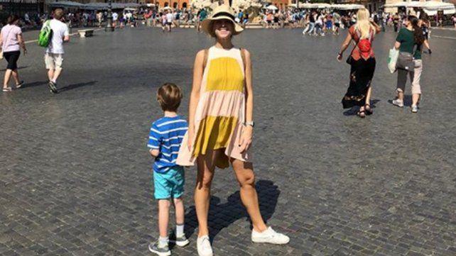 Las fotos del viaje de Carla Peterson a Italia con su hijo Gaspar