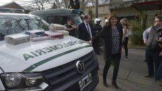 En el lugar. La ministra Bullrich estuvo en Liniers y San Luis donde en un auto hallaron 32 panes de marihuana.