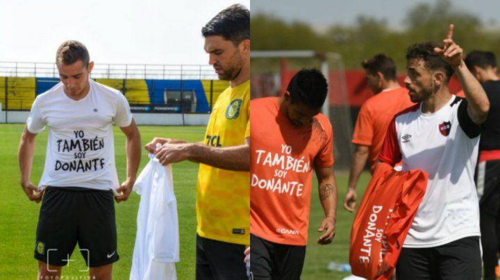 Los jugadores de Central y Newells se sumaron a la campaña que impulsa la familia Trivisonno.