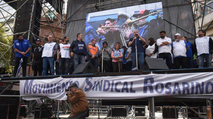 Unidad. Los referentes del Movimiento Sindical Rosarino