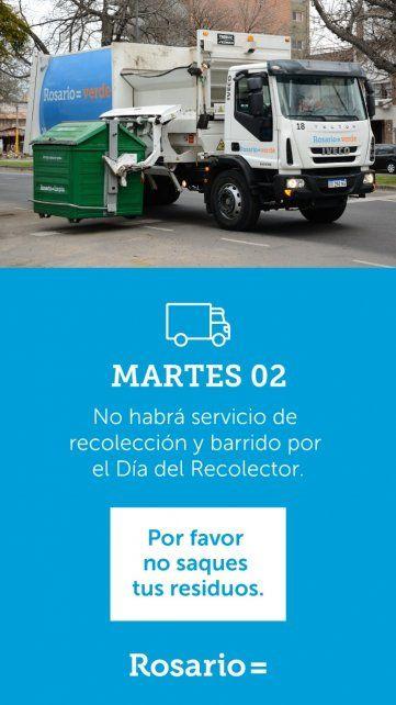 Mañana no hay servicio de recolección de residuos ni de barrido
