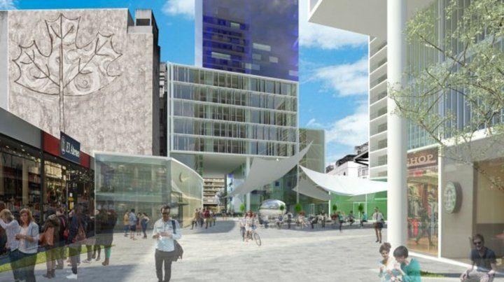 Imagen virtual. El plan contempla áreas para peatones y locales comerciales.