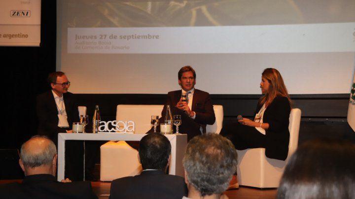 Visión global. La secretaria de Mercados de Agroindustria de la Nación y el subsecretario del Mercosur participaron del seminario Acsoja.