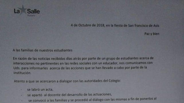 Comunicación. La carta que el colegio envió a los padres.
