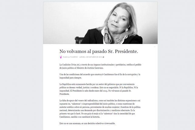 En clave de ultimátum, Carrió le mandó una carta a Macri y pidió no volver al pasado