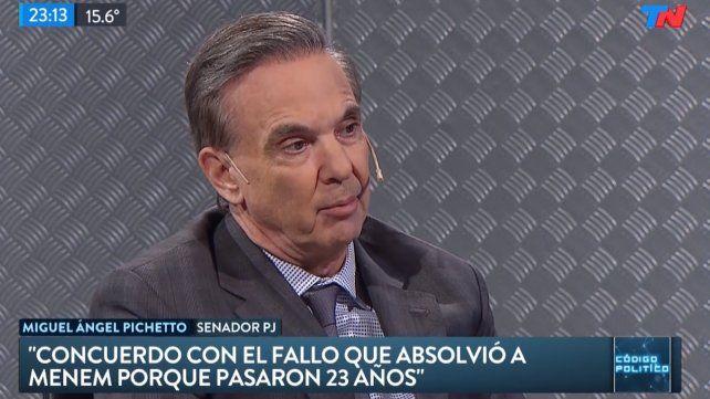 Pichetto dijo que el falló que absolvió a Menem es razonable