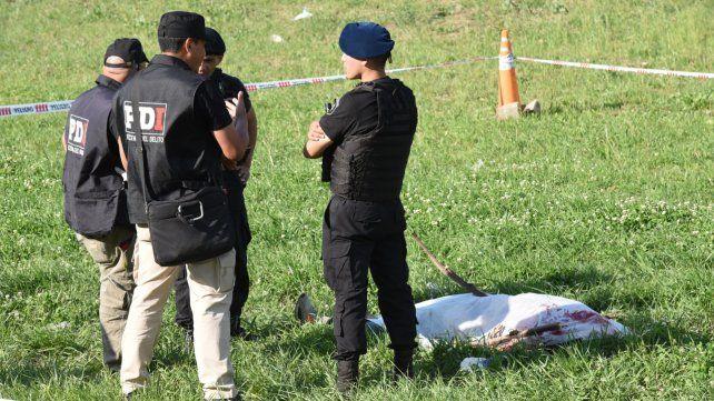 Sobre el césped. Allí quedó tirado el cuerpo de Carlos Damián Ramos.