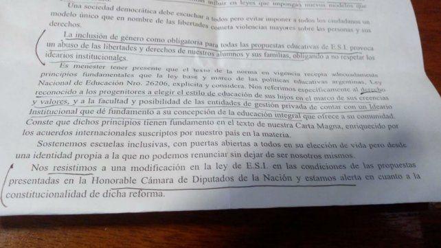 La carta que llegó a los alumnos de los colegios católicos.