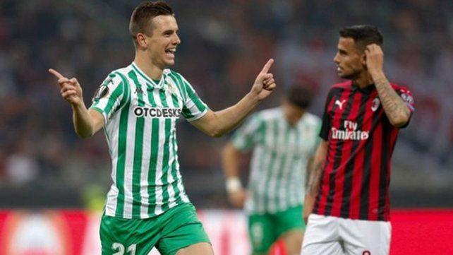 Grito en el San Siro. Giovani Lo Celso marcó el segundo de Betis frente a Milan.