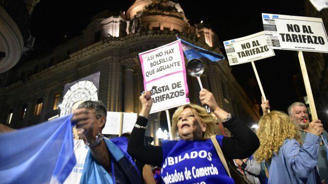 Protesta contra el tarifazo realizada en abril pasado en el centro de Rosario.