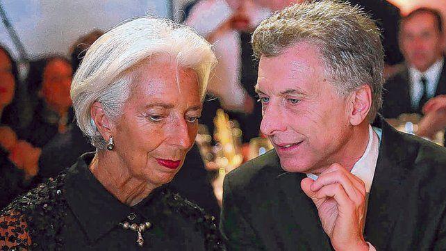 Sintonía. La jefa del Fondo Monetario Internacional, Christine Lagarde, y el presidente Mauricio Macri.