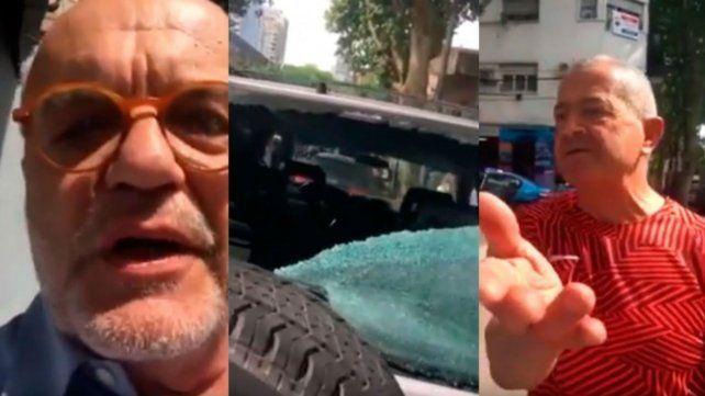 Leyrado filmó a un motociclista que le rompió la luneta de su camioneta
