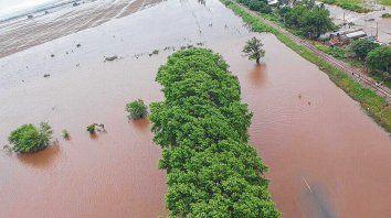Excesos hídricos. La zona de la localidad de Barrancas fue una de las más afectadas por las intensas precipitaciones en la provincia de Santa Fe.