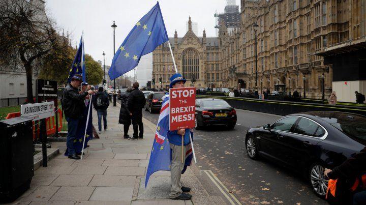 Clamor. Un partidario de la permanencia dentro de la UE protesta frente al Parlamento en Londres.